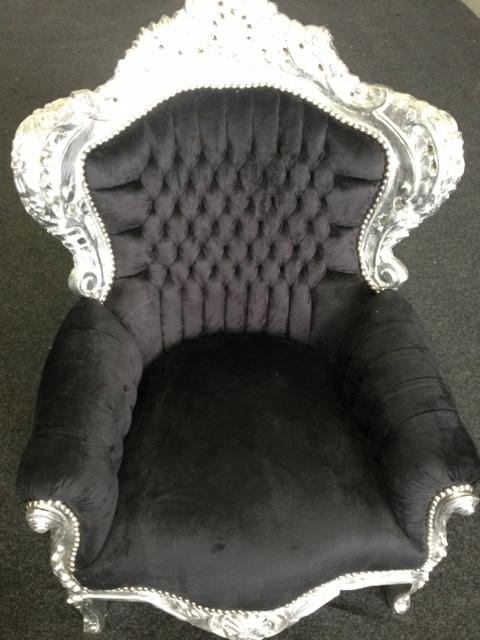 Barok stoel zwart zilver bij springkussen huren in for Barok stoel